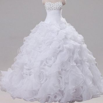 Ruffled Organza Wedding Dress Sleeveless Sweetheart Beaded Sequined Ball Gown Bride Dresses