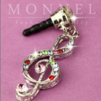Ip175 Luxury Crystal Music Note Anti Dust Plug Cover Charm for Iphone 4 4s