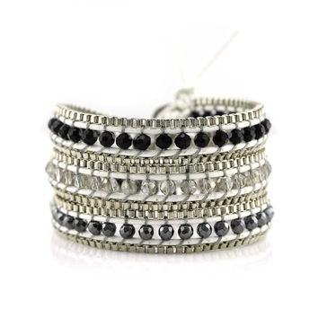 Hematite and Crystal with Silver Chain on White Leather Wrap Bracelet