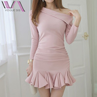 VOGUE SIS Sexy Elegant  Party Pleated Dress Women Pure Color Off The Shoulder Half Sleeve Autumn Skinny Mini Dress