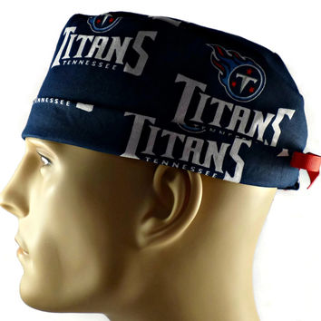 Men's Adjustable Cuffed or Un-Cuffed Surgical Scrub Hat Cap in Tennessee Titans