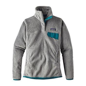 Patagonia Women's Re-Tool Snap-T Fleece Pullover (Small, Tailored grey- Nickel X-Dye w/ Elwha Blue)
