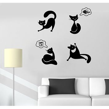 Wall Decal Cats Funny Pets Emotions Animal Kittens Vinyl Sticker (ed1489)