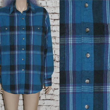 90s Flannel Shirt Jacket Coat Tartan Plaid Blue Black Purple White Button Up S M L Grunge Punk Hipster Pastel Goth Festival Mens Oversized