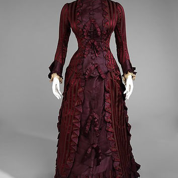 1878  French  Historical Red Gown Bustle Dinner Gown