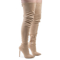 Giselle50 Nude F-Suede by Liliana, Nude Suede Thigh High Drawstring Stiletto High Heel Boots