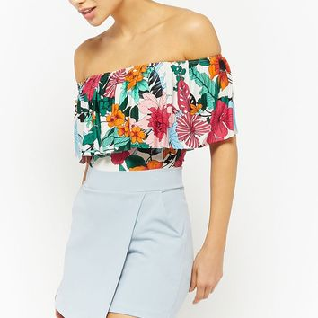 Tropical Print Flounce Bodysuit
