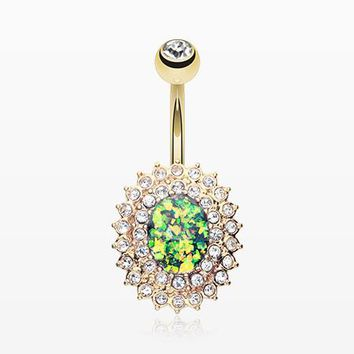 Golden Radiant Opal Sparkle Belly Button Ring