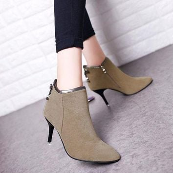 ca PEAPTM4 Hot Deal On Sale High Heel Winter Pointed Toe Suede Butterfly Boots [11156051079]