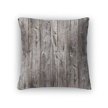 Throw Pillow, Old Gray Fence Boards Wood