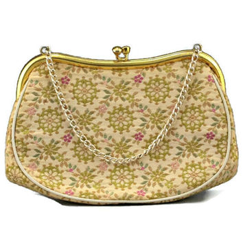 Italian Purse Floral Tapestry Embroidered Handbag Signed La Marquise