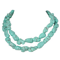Turquoise Double Strand Choker Necklace