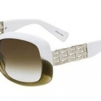 Giorgio Armani 600 White Olive Gold/brown Grey Shaded Sunglasses
