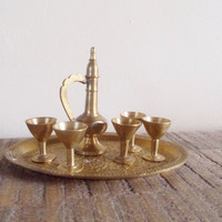 Tiny Vintage Brass Tea Set