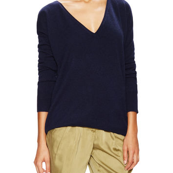 Barrow & Grove Women's Danielle Cashmere Boyfriend Sweater - Dark Blue/Navy