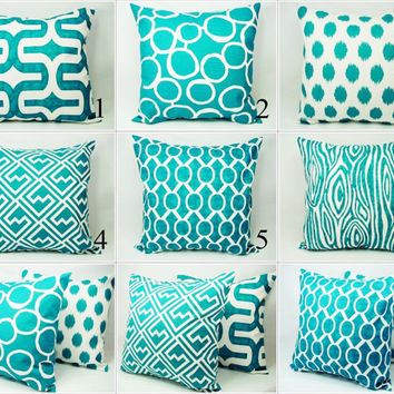 Throw Pillow Covers - Pick Your Own Set of Two Turquoise and White 16 x 16 Inch Couch Pillow Cushion Cover Accent Pillow