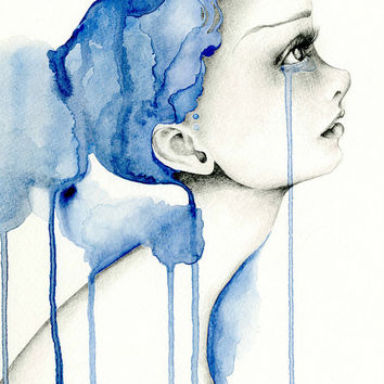 Watercolor Painting OOAK Fashion Illustration Art Large Original Watercolor & Pencil Drawing Blue Watercolor Painting
