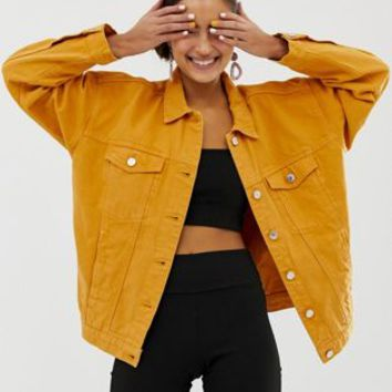 Monki oversized denim jacket with organic cotton in mustard at asos.com