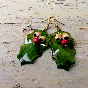 Green Holly Leaves Resin Earrings with Natural seed Pods and Deep Red Crystal, Green Resin Studs Green Leaves Gift Christmas present