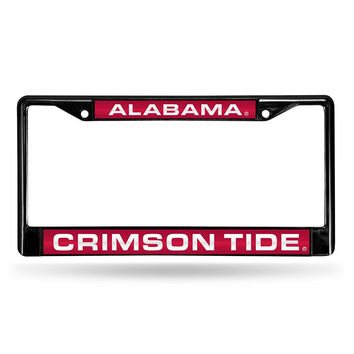Alabama Crimson Tide NCAA Black Chrome Laser Cut License Plate Frame