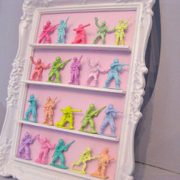 Neon Pastel Mini Army Men Display Ornate Vintage Frame Candy Bright Wall Art