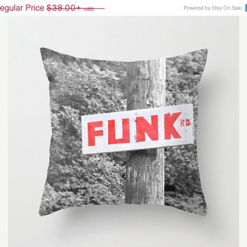 FOUR DAY SALE Funk Road - Funky - Orange - Red - Black and White - Throw Pillow Cover -  - Black and White - Red - Orange