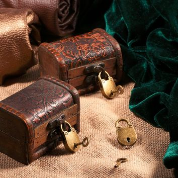 3 Pcs/set Antique Bronze Plated Chinese Style Vintage Padlock Jewelry Chest Box