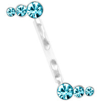 Aqua Jeweled Sterling Silver Acrylic Push In Eyebrow Ring | Body Candy Body Jewelry