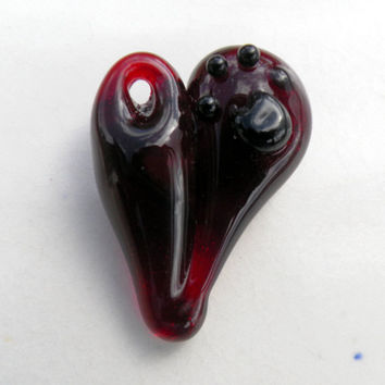 Glass Heart Pendent Boro Heart Red heart Paw Print by untamedrose