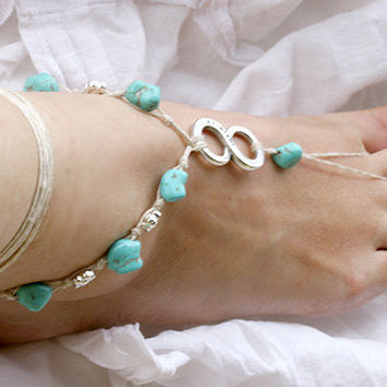Barefoot sandals with infinity charm  and turquoise beads, Beach wedding barefoot, foot jewelry,
