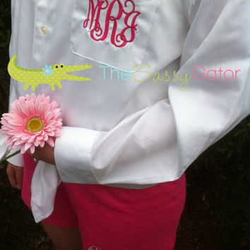 Monogrammed Boyfriend SHIRT and SHORT Set- Oversized Oxford Shirt-Bridal Party-Spa-Personalized Wedding-Bride- Bridesmaid Gift