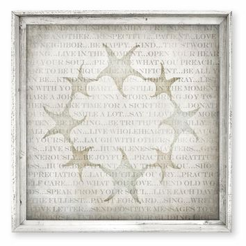 Rustic Framed Canvas Art - Words of Wisdom / Sea Stars - Rustic Antique White Finish - 21x21