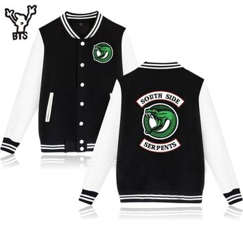 Trendy Jughead Jones Wuz Here Cool Jackets Popular Fashion Riverdale College Varsity Funny Patchwork Baseball Jacket BTS A4890-A7136 AT_94_13