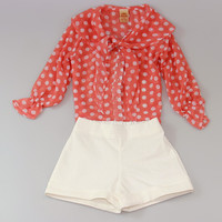 Pink Polka Dot Tie Button-Up & White Shorts - Toddler & Girls | something special every day