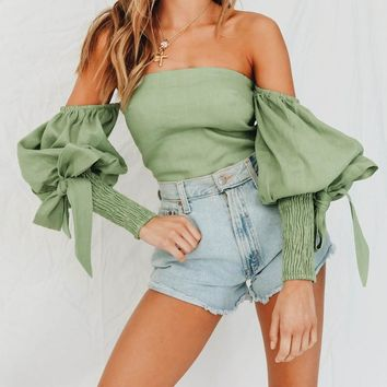 Women Solid Color Fashion Off Shoulder Bow Long Sleeve Strapless T-shirt Women Palace Crop Tops