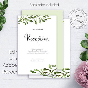 Greenery Wedding Reception Card, Invitations, Printable, Watercolor, Wedding Cards, Details Card, Enclosure Card, Reception PDF