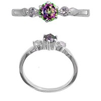 Sterling Silver Ring in Rainbow and Clear Cubic Zirconia - 6x1mm, Sizes 5-9