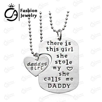Personalized Handstamped Daddy Daughter Necklace There is girl she calls me daddy father's day Gift Jewelry 20Set/Lot LN1079D