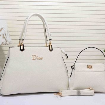 One-nice™ Dior Fashion Women's Leather Handbag Tote Satchel Shoulder Bag Two piece Set H-YJBD-2H
