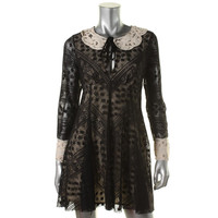Free People Womens Lace Contrast Collar/Cuff Casual Dress