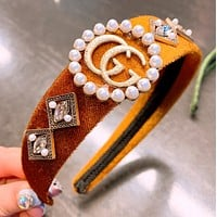 GUCCI Fashion New Letter More Pearl Personality Headband Hair Clasp Women Brown