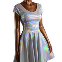 Silvery Holographic Liquid Rainbow Skater Dress