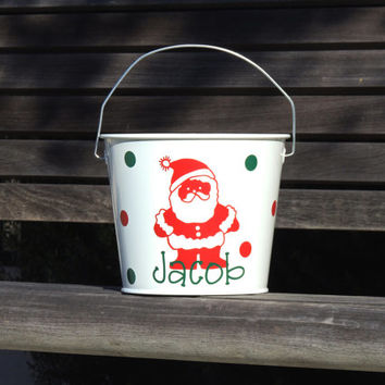 holiday bucket, kids christmas bucket, candy bucket, gift bucket, christmas party favor, santa  pail, holiday gift, toy bucket, kids pail