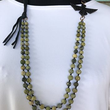 J. Forks 2 Strand Green Turquoise and Thunderbird Necklace