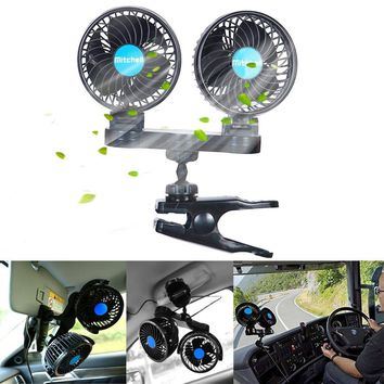 Dual Head 12V Electric Car Fan with Clip,360 Degree Electric Cooling Quiet Speedless Car Fans with Cigarette Lighter Plug for for Cars, Trucks, and RV's