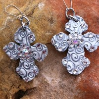 Custom Silver Swirl Cross Earrings