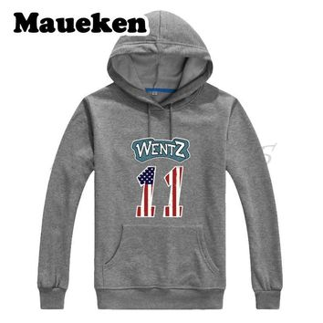 Men Hoodies Carson Wentz 11 philadelphia Sweatshirts Hooded Thick Lace-up for eagles fans gift Autumn Winter W17102001