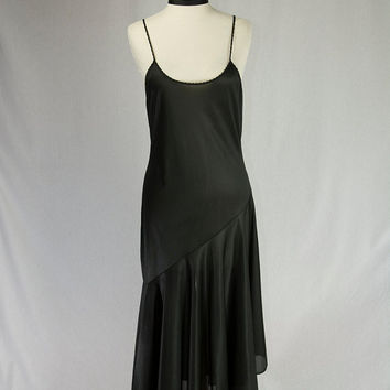 Vintage Black Tango Nightgown Slip Dress Asymmetrical Hem