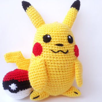 PIKACHU POKEMON PLUSH 9'' anime manga japan yellow inspired raichu thunder mouse crochet