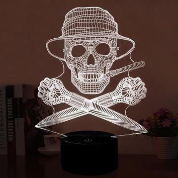 Skull Head USB 3D Light Novelty 7 Colors LED 3D Night Lamp as Bedroom Decoration LED Desk Lamp
